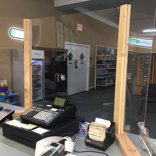 Shield around cash register